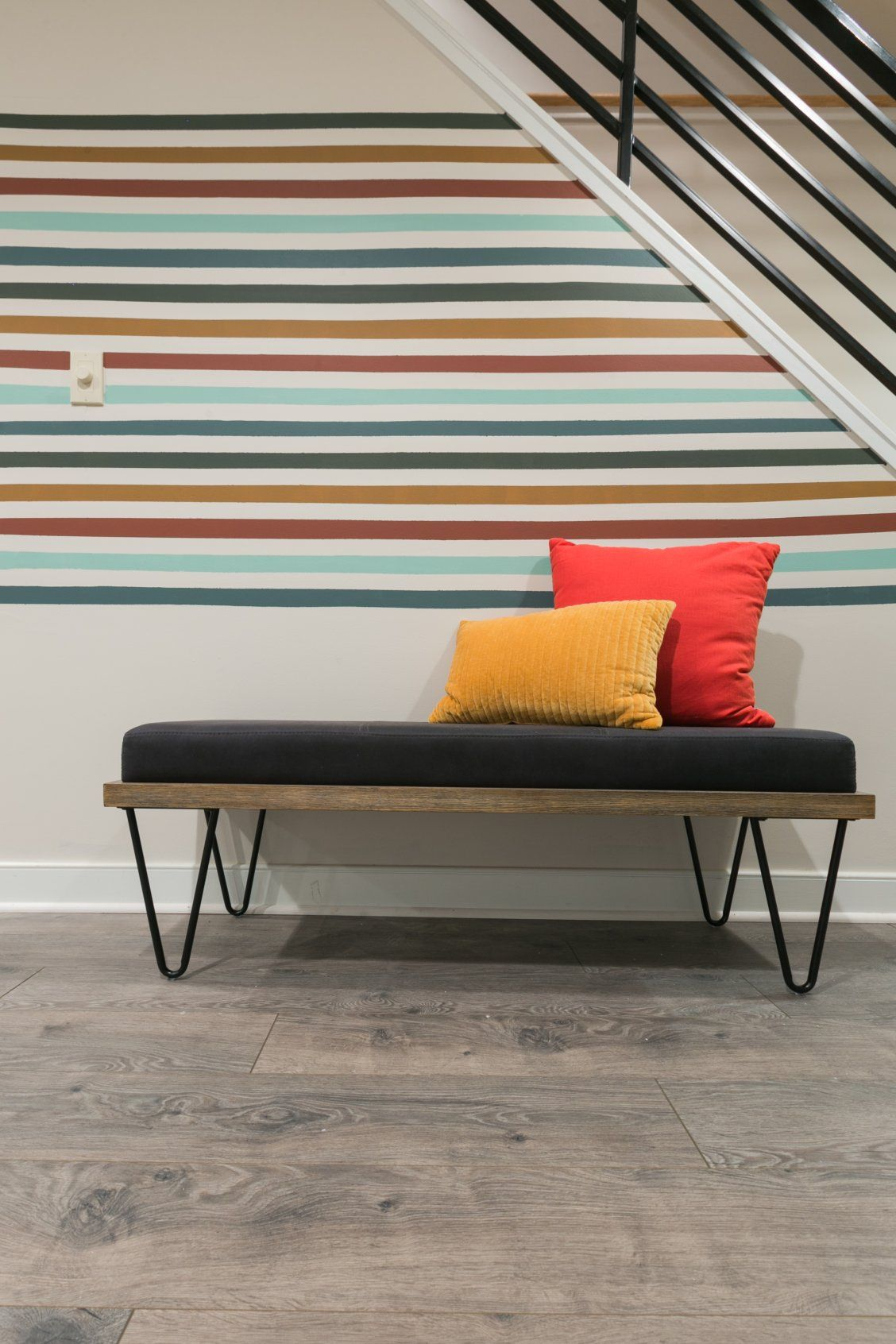 DIY a simple, graphic accent wall using coordinating paint ...