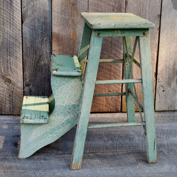 Light Green Step Stool Wooden Fold Out Steps Kitchen Stool Step Ladder  Chippy Crackled Paint Weathered Rustic Primitive Farmhouse