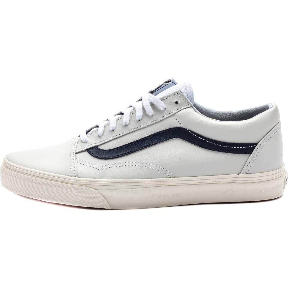 vans old skool white blue stripe