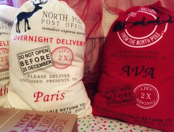 Personalized Santa Sack, Santa Sacks, Embroidered Personalized Santa Sack, North Pole Sack, Christmas Gift Bag, Christmas bag, Santa Sacks