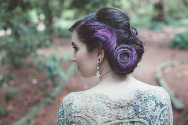 Beautiful Edgy Retro Wedding Hairstyle Purple Bridal Hair