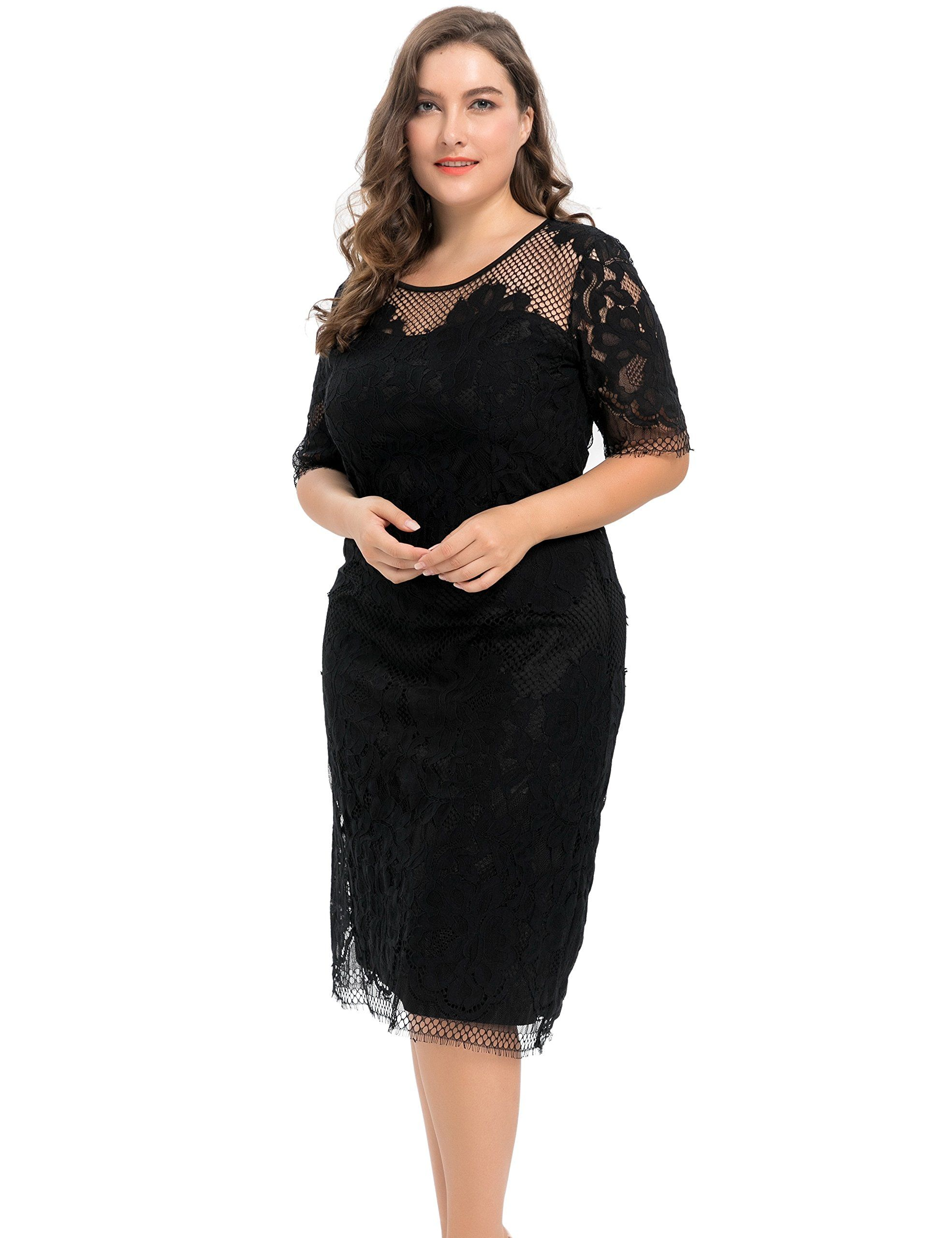 d35a4957bf Chicwe Women s Plus Size Lined Floral Lace Dress - Knee Length Casual Party  Cocktail Dress - Top Plus Size Models And Celebrities In The World - Plus  Size ...