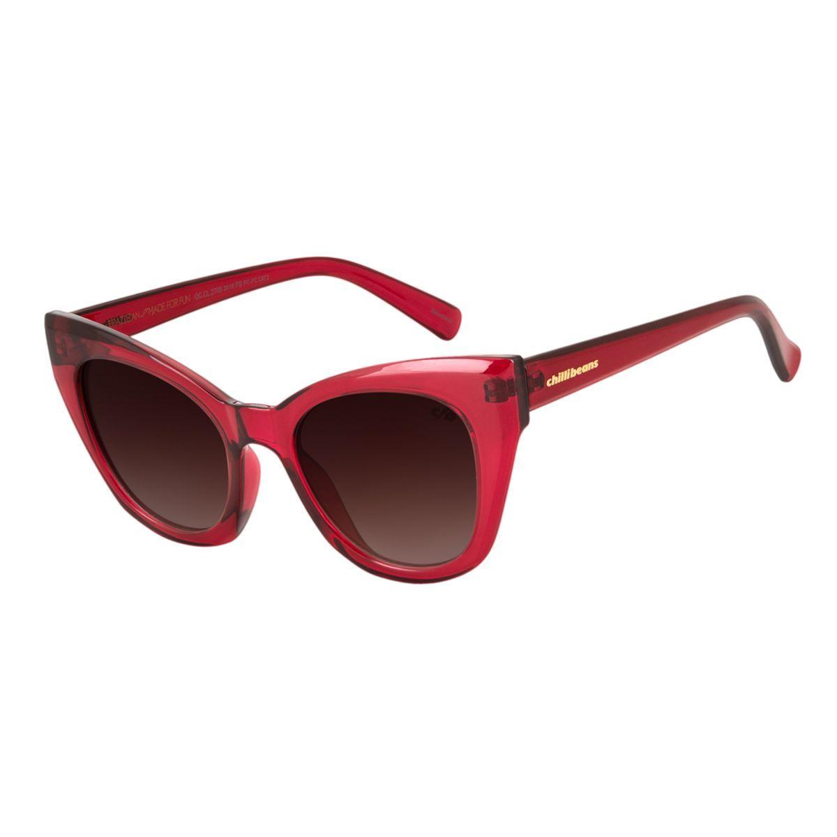 Oculos De Sol Chilli Beans Gatinho Lady Like Vermelho Degrade 2705