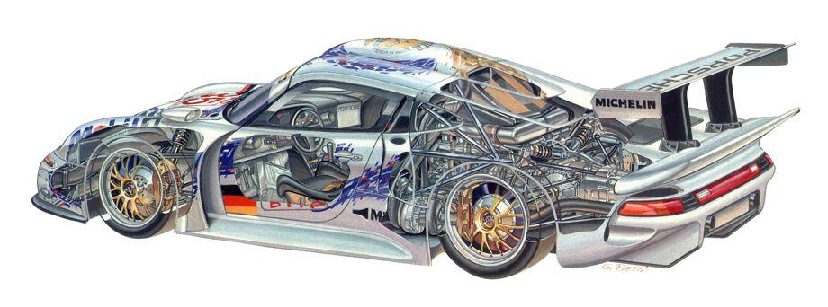 """PORSCHE CARRERA GT 1 CUTAWAY RACE CAR ART POSTER REPRINT 18"""" x 24/"""" Giclee"""