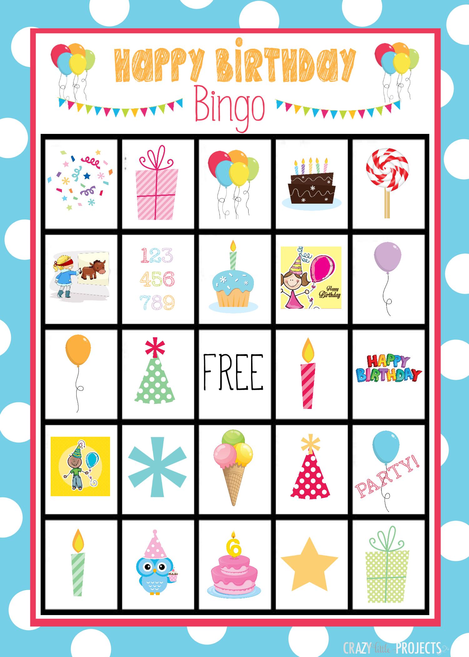 Cute Free Printable Birthday Bingo Game