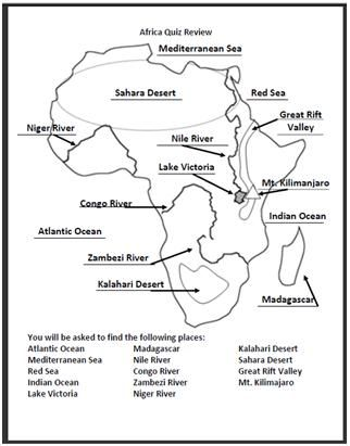 physical features of africa map worksheet