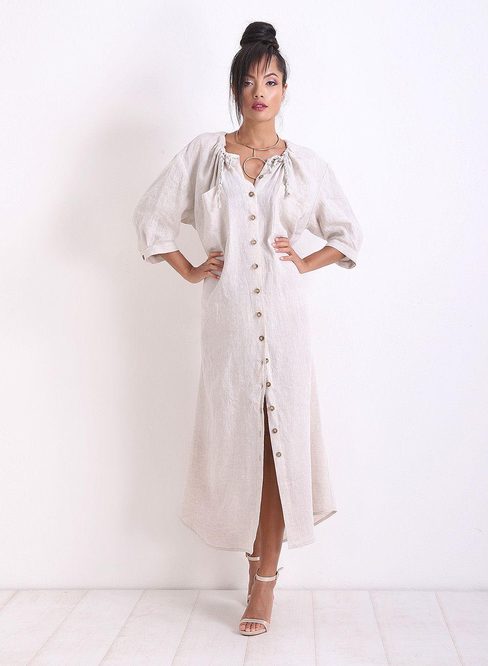 Linen dress long dress beige dress plus size dress casual dress