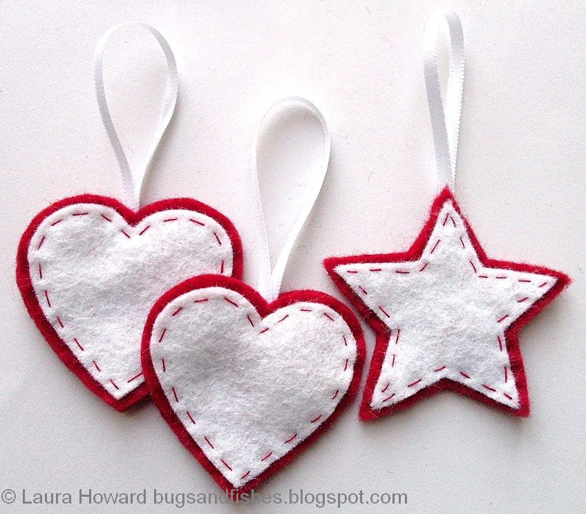 Free Tutorial For Sewing Easy Felt Ornaments --- Bugs And