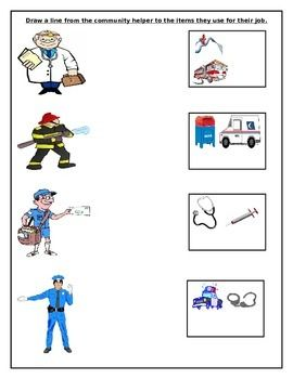 A simple worksheet where students have to draw a line from the ...