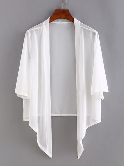 Shop Open-Front Asymmetric Chiffon Cardigan online. SheIn offers ...