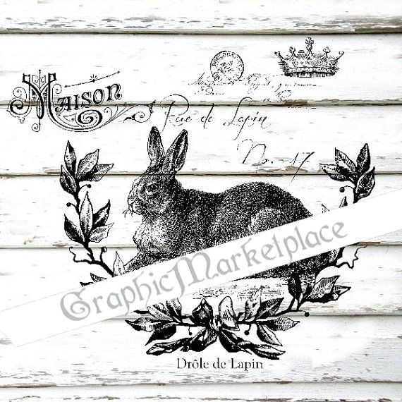 French Script Rabbit Bunny Silhouette Lapin Wall Decor Art Printable Digital Download for Iron on Transfer to Fabric Pillows Tea Towel DT904