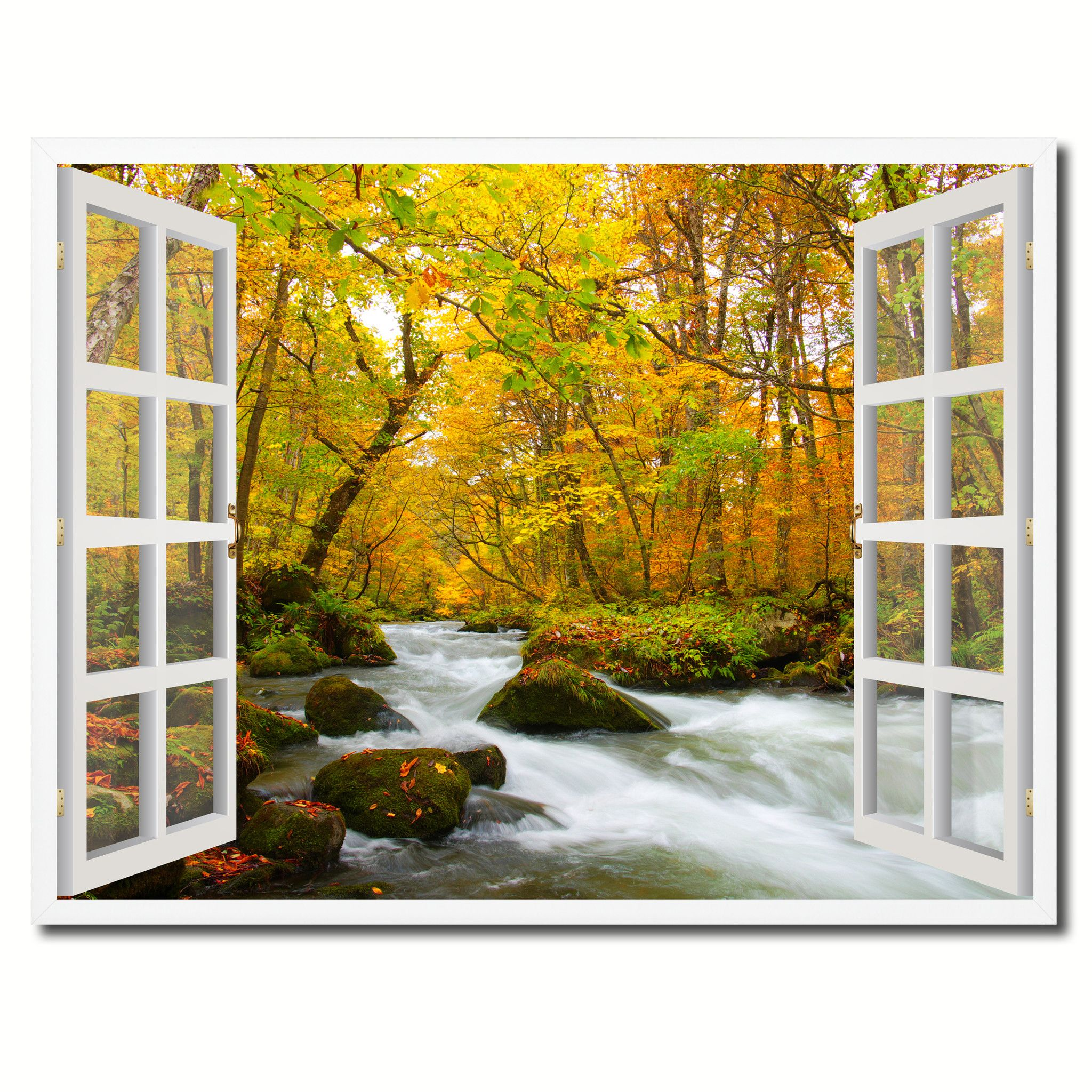 Autumn River Picture French Window Framed Canvas Print Home Decor ...