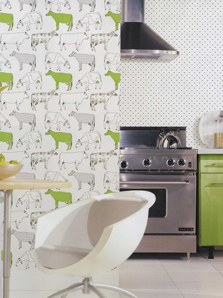 Norwall wallcoverings is going retro with lime cow for Lime green kitchen wallpaper