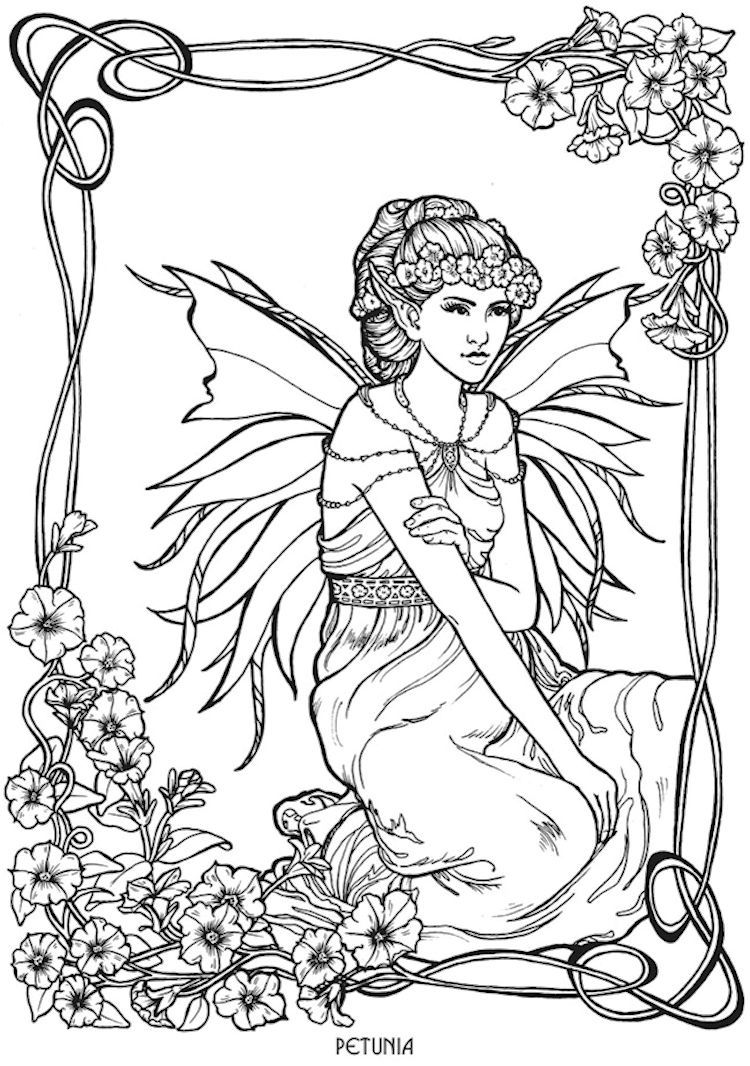 Dover Floral Fairies Coloring Page 5 | Adult Coloring Pages ...