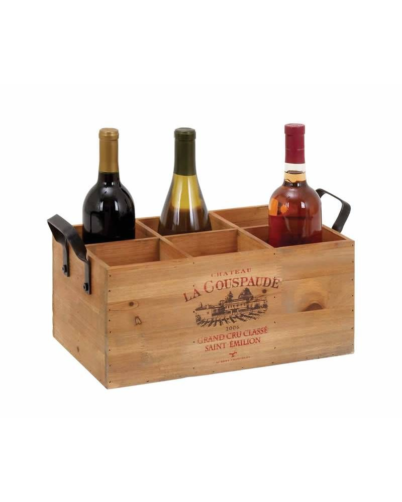Classic French Designed Wooden Wine Holder with Iron Handles - The wine holder models a rectangular shape and fashions a neat and sturdy construction. The rack is compartmentalized into six equally spaced holders which can accommodate standard sized bottles. This wine holder has not lid and is similar to a tray. The wine holder has well defined detailing and has a perfect cut out.