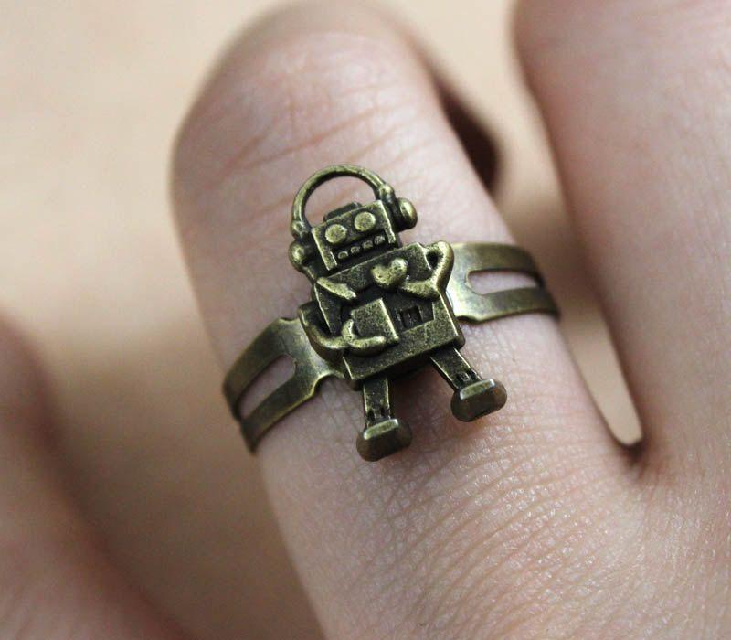 little cute heart robot adjustable Ring