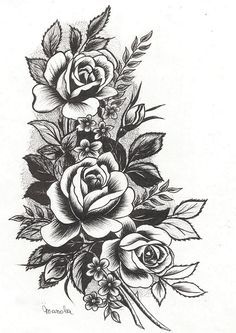 I Want Something Like This Incorporated Into My 1 2 Sleeve Tat I Am Planning To Get In The Near Future Dessins De Fleurs Pour Tatouage Tatouage Tatouage Rose