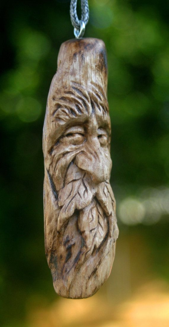 Carved wood green man carving gift ornament key chain
