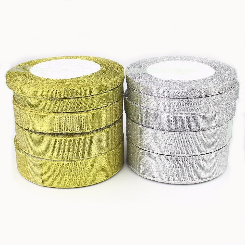 38mm GOLD SILVER GLITTER // Sparkle Organza Ribbon Wedding Gift UK 15 6 10 25