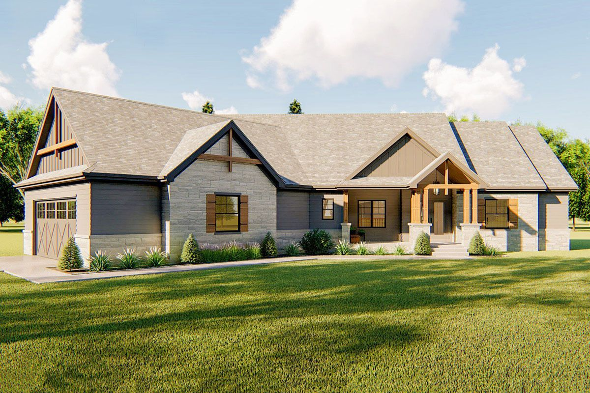 Plan 62745dj One Story House Plan With Angled Footprint And Classic Craftsman Styling Craftsman House Plans House Plans Farmhouse Modern Farmhouse Plans