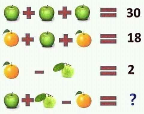Apple, Orange & Guava Fruit Math Puzzle with answer
