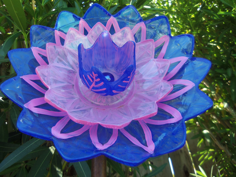 Sun Catcher Garden Art - Glass Plate Flower -  Hand Painted in True Blue & Magenta - Suncatcher - Lawn Ornament - Garden Decor - Yard Art. $50.00, via Etsy.