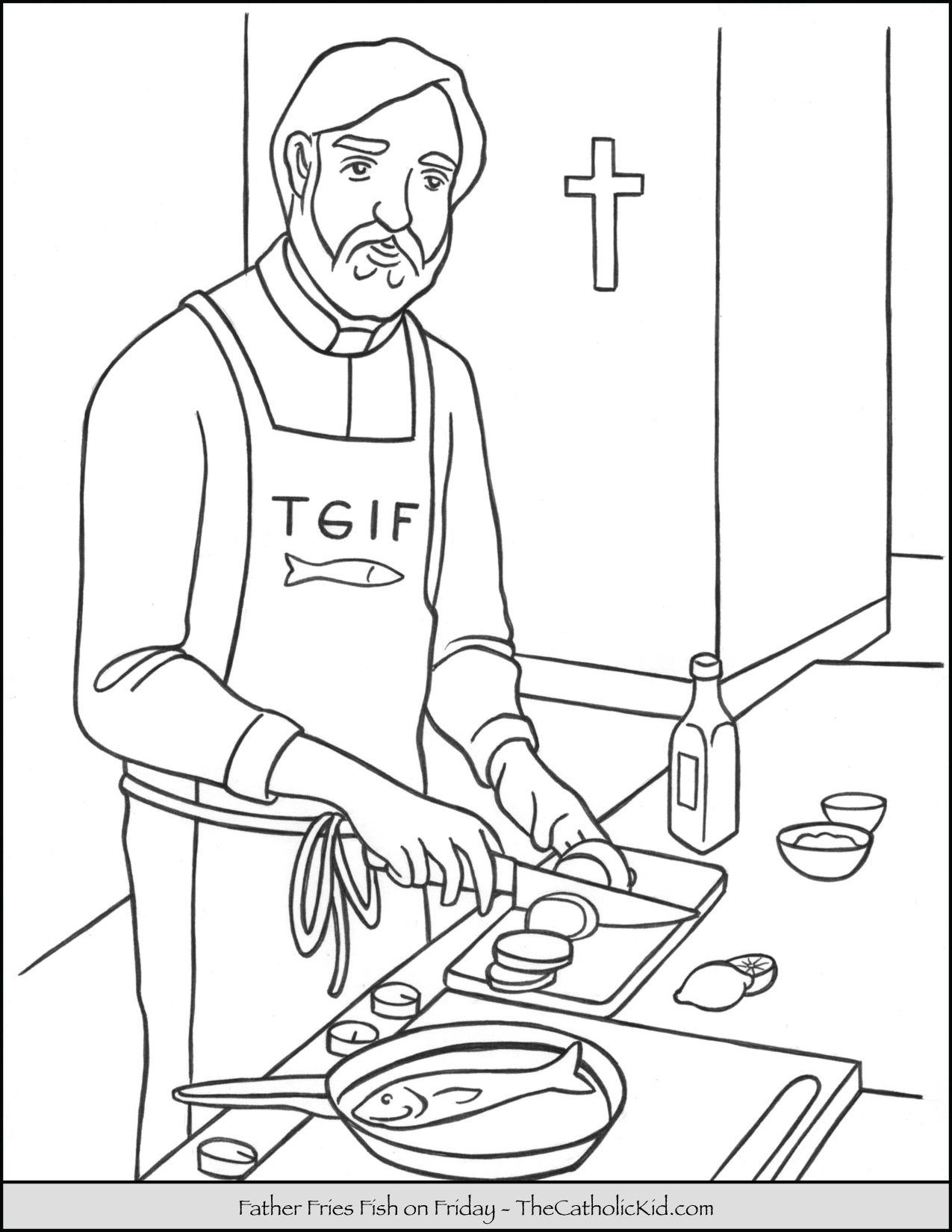 Priest Father Frying Fish Friday Coloring Page Thecatholickid