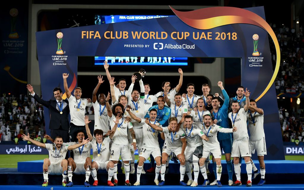 General View As Sergio Ramos Of Real Madrid Lifts The Fifa Club World In 2020 Real Madrid Club World Cup World Cup Trophy
