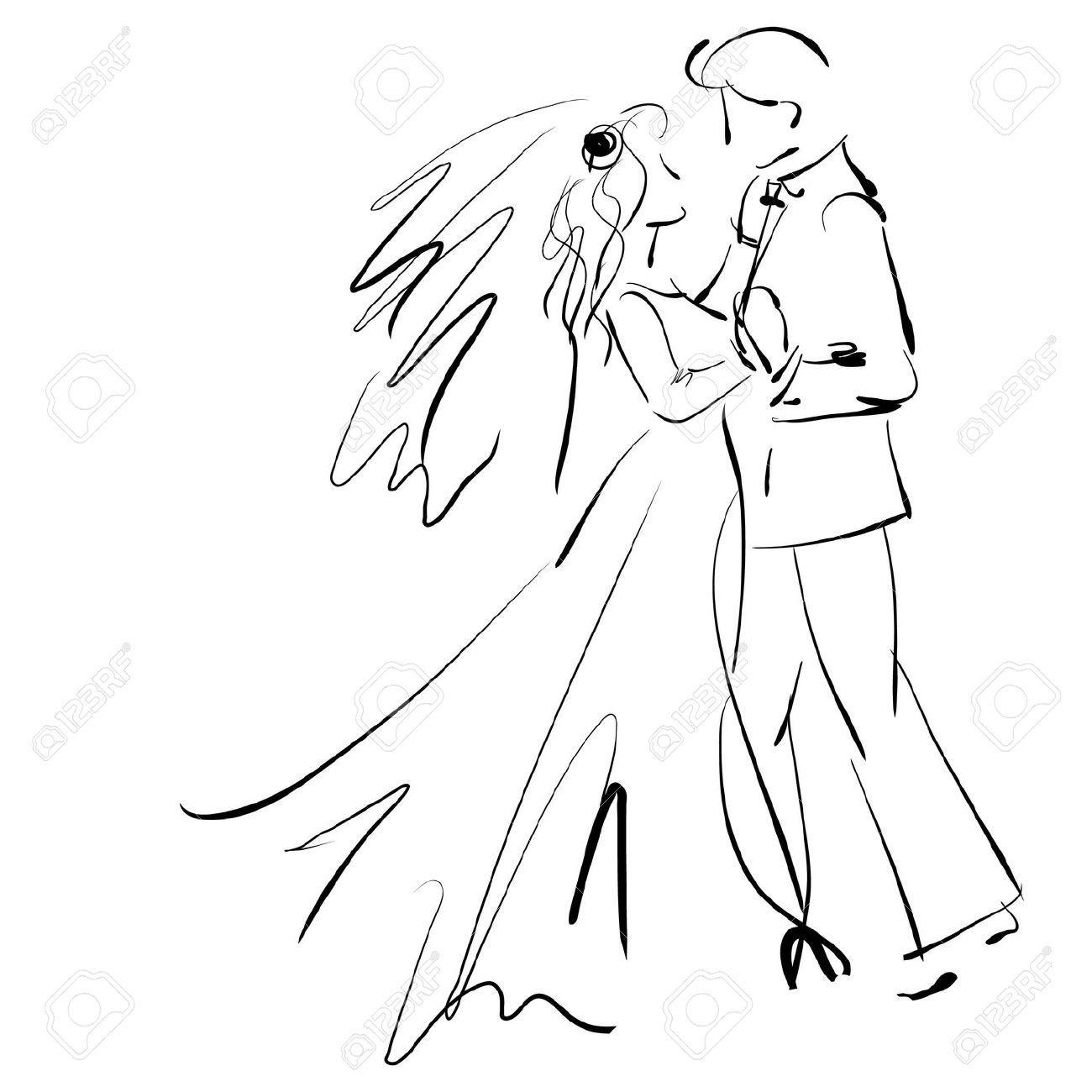 18924701 arte disegno giovane e bella sposa e sposo in for Disegni sposi stilizzati