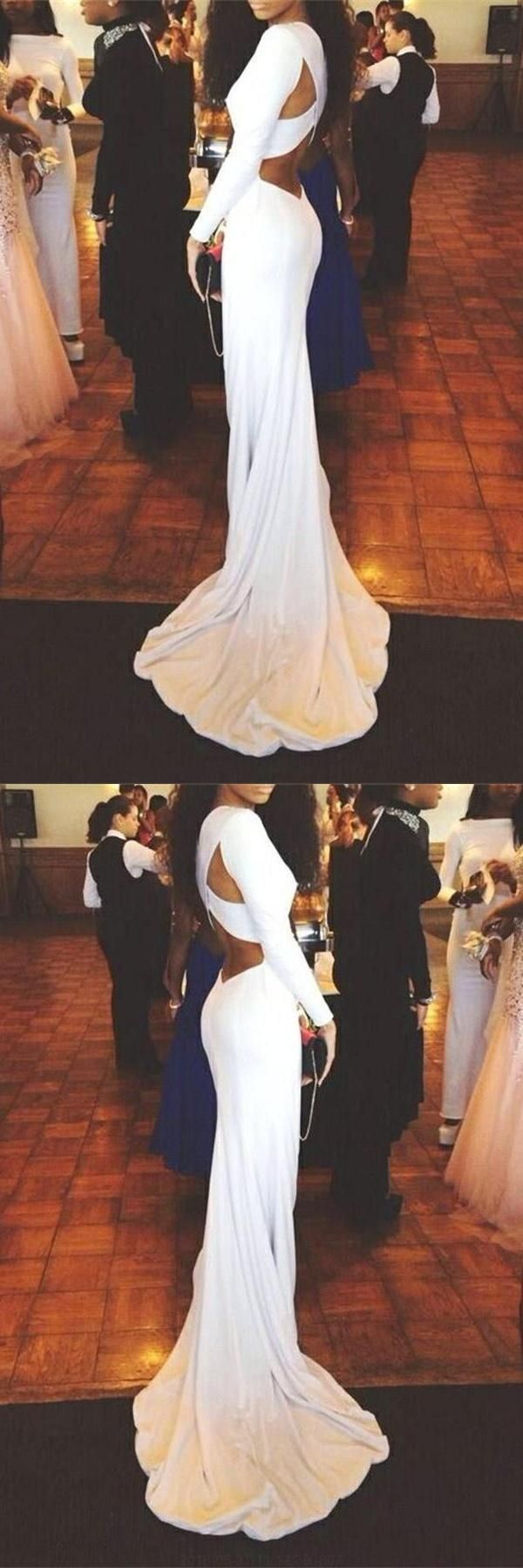 Prom dresses white open back prom dresses long sleeves prom