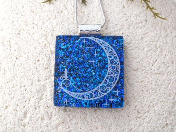 Holiday Necklace Dichroic JewelryCandle Moon Necklace Blue