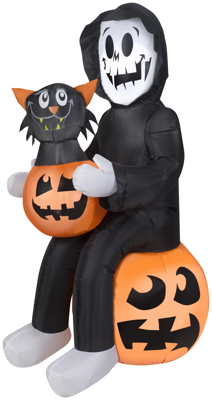 4.5' airblown reaper's pumpkin surprise scene halloween inflatable
