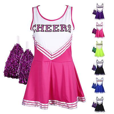 Cheerleader #fancy dress outfit #uniform high #school musical costume w/ pom poms,  View more on the LINK: http://www.zeppy.io/product/gb/2/371597621084/