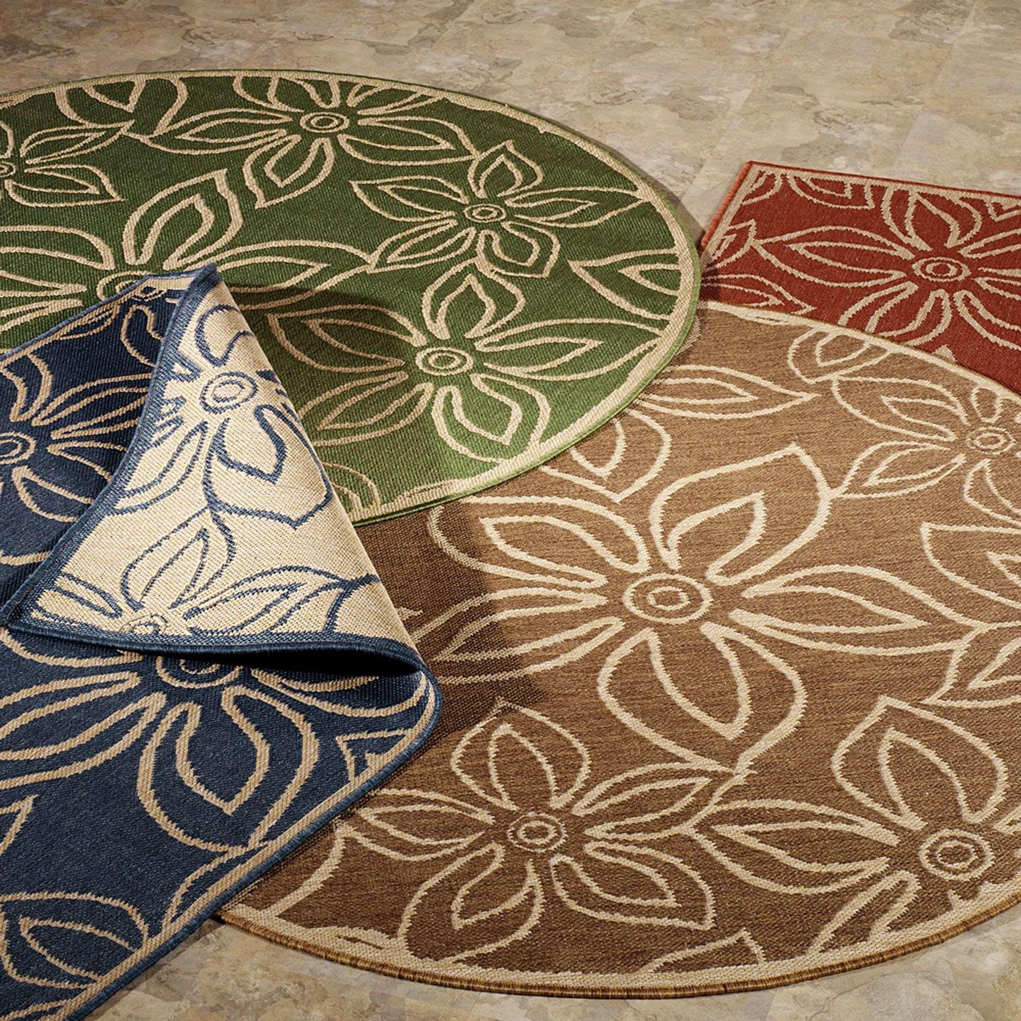 Image of contemporary round indoor outdoor rugs