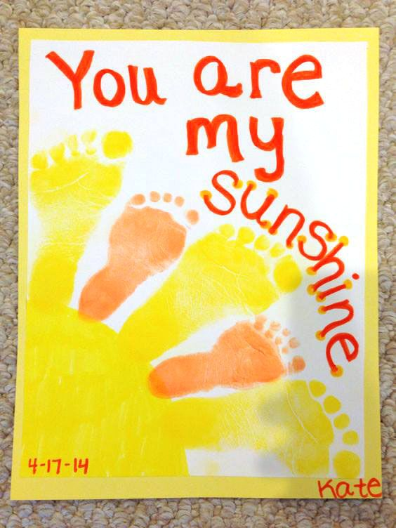 Footprint Sunshine Canvas Kids Handprint Footprint Crafts