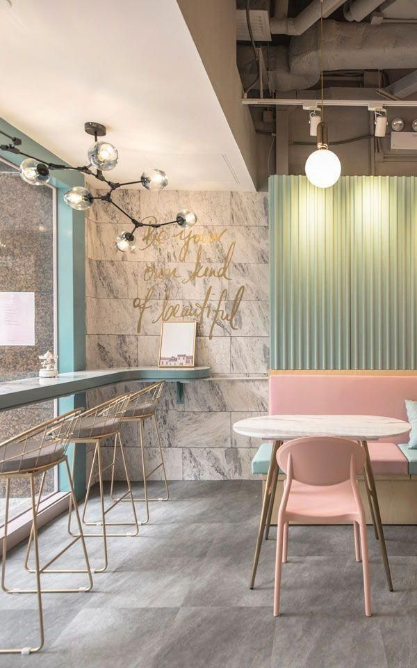 The pastel cafe is tailored to give its customers a fairytale like experience, attracting anyone who is seeking to spend some time in a light and airy atmosphere. The pastel colour scheme of pinks, greens, and neutrals perfectly compliments the marble tex #bestinteriordesign