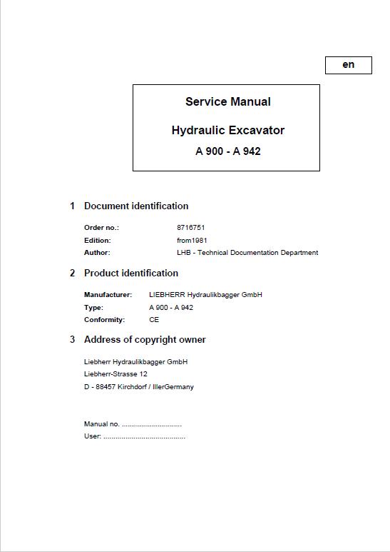 Liebherr A900 A902 A912 A922 A942 Hydraulic Excavator Service Manual In 2020 Hydraulic Excavator Excavator Hydraulic