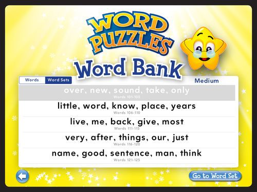 Pick the words you want to learn in puzzles. Download the Word Puzzles: Kids Learn Sight Words Game app today from iTunes - only $1.99!