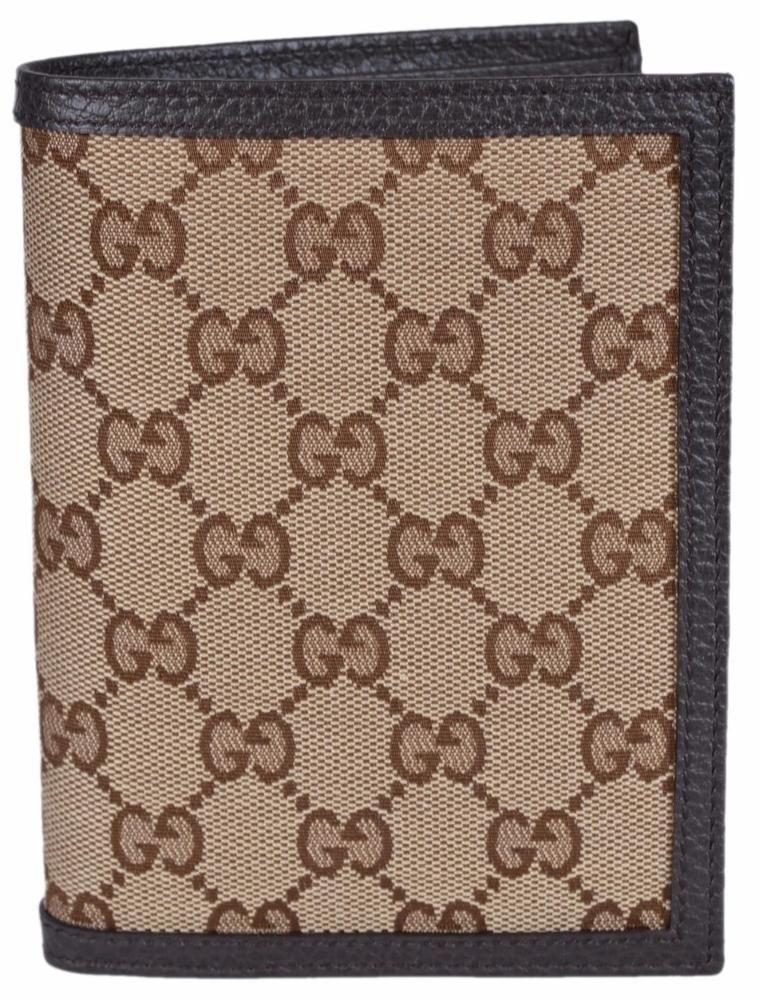 e286cda9ff5 NEW Gucci Men s 346079 Beige Canvas GG Guccissima Passport Holder Bifold  Wallet  Gucci