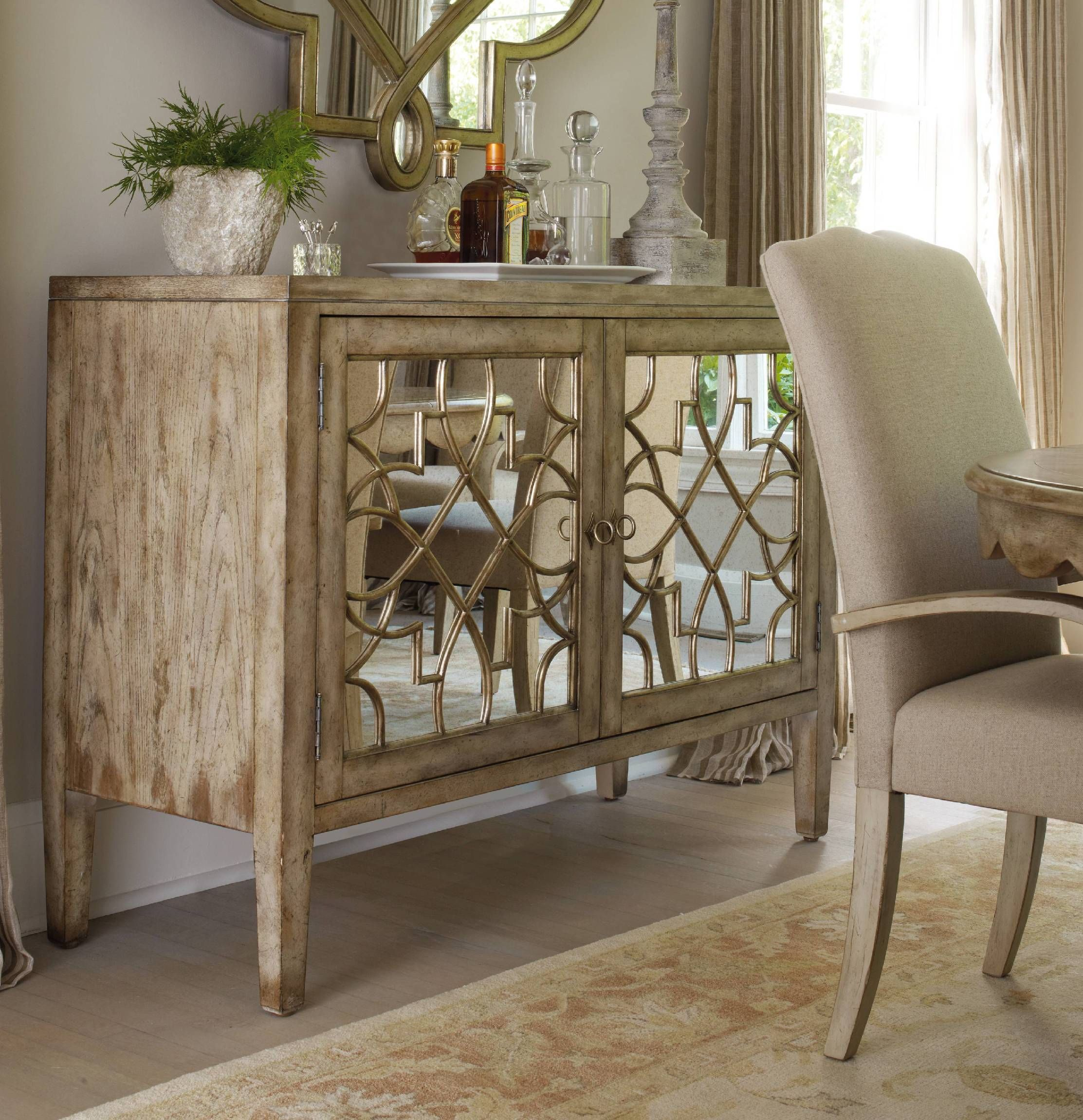 Hooker Furniture Living Room Sanctuary Two Door Mirrored Console Surf Visage Sku 3013 85002