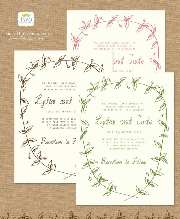 Friday DIY-roundup Free Wedding Printables (part I Woodland - free invitation download