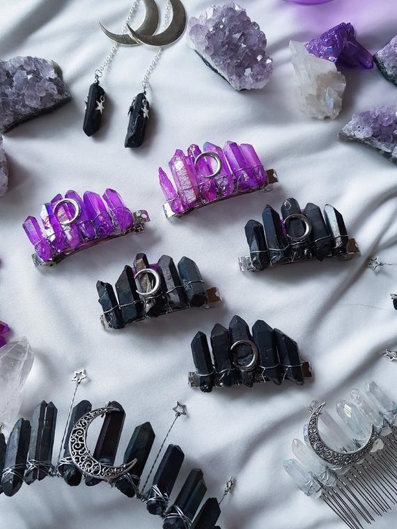 Black barrette clip Gothic wedding hair clips Crystal bridal hair piece