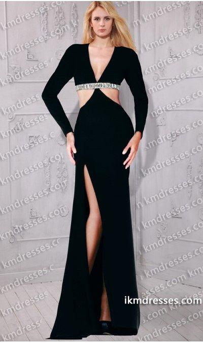 http://www.ikmdresses.com/sensational-plunging-v-neckline-long-sleeves-side-slit-cutout-gown-p59780