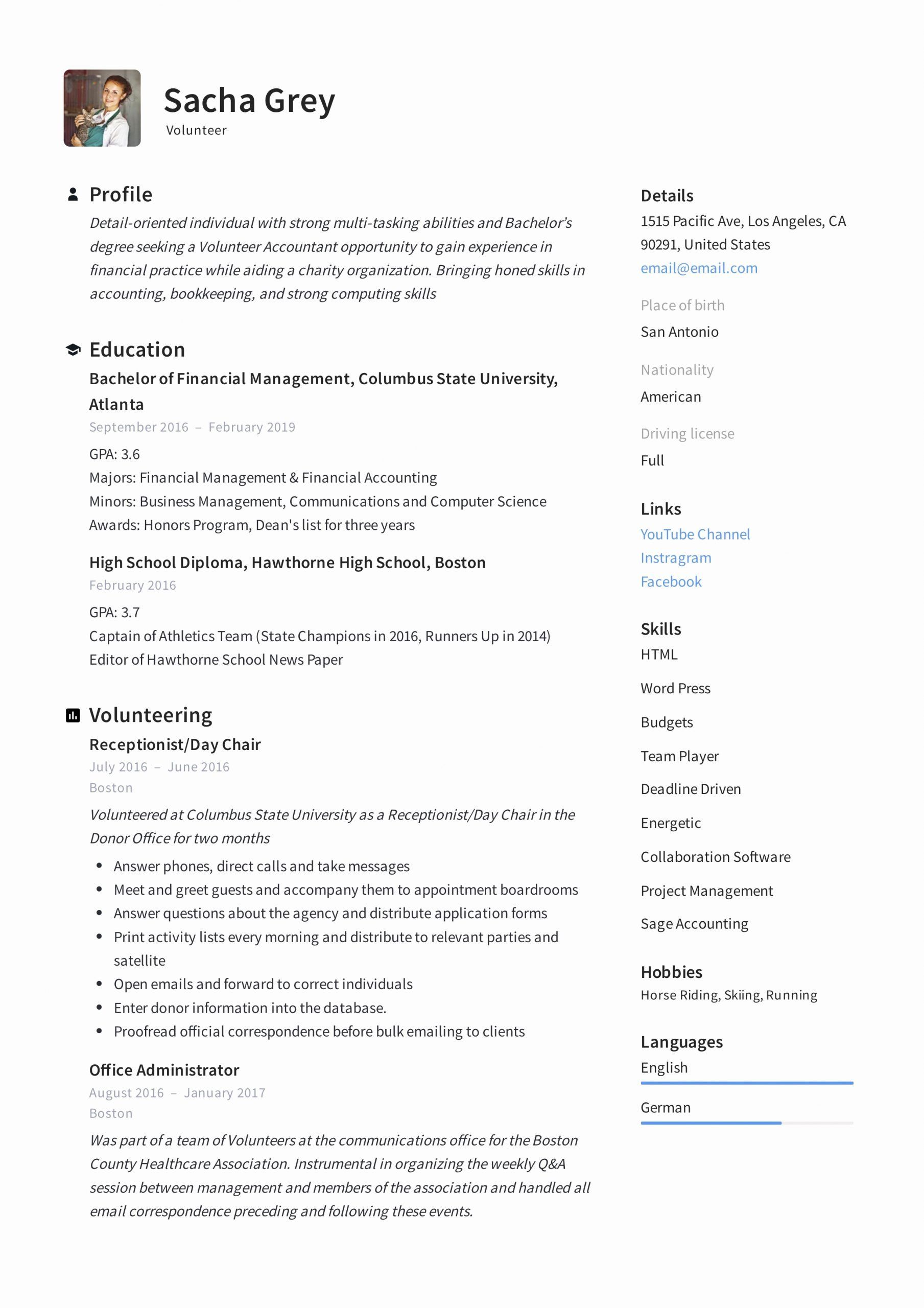 Volunteer Experience Resume Example Unique Volunteer