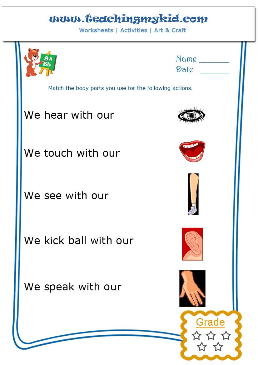 kindergarten learning – Match the body parts – Worksheet – 1 ...