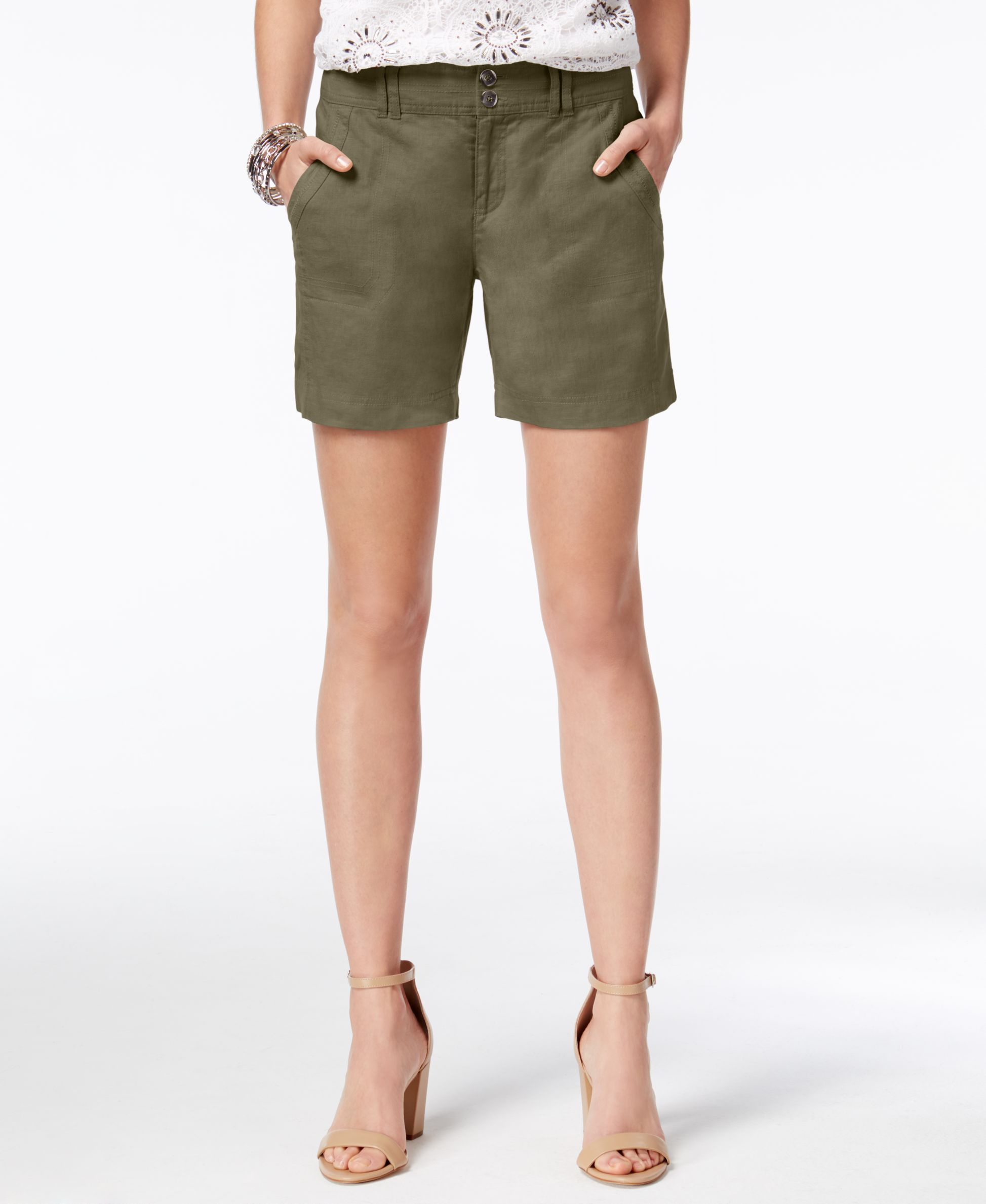 INC International Concepts Linen Curvy-Fit Shorts
