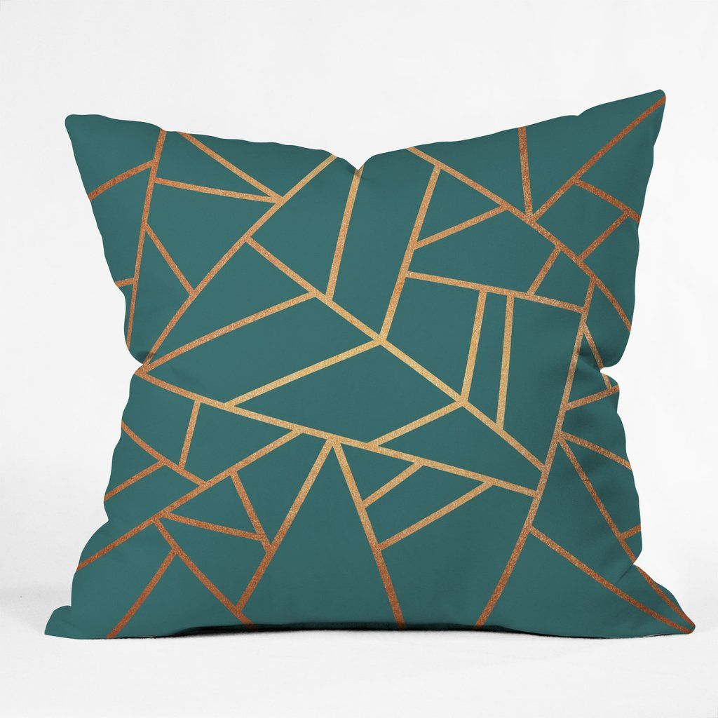 Elisabeth Fredriksson Copper and Teal Throw Pillow is part of Teal Home Accents Basements -