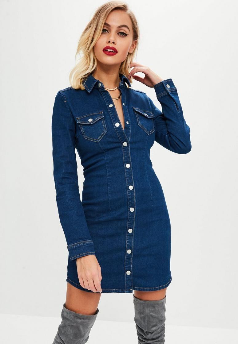 203a035428e9e Blue Fitted Long Sleeve Button Denim Dress