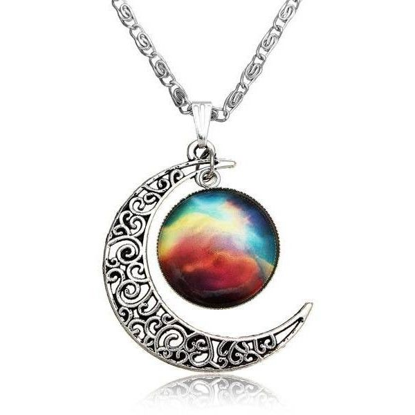 Silver Plated Gem Moon Galactic Necklace ($2.70) ❤ liked on Polyvore featuring jewelry, necklaces, gemstone jewellery, gemstone jewelry, silver plated jewelry, silver plating jewelry and cabochon jewelry