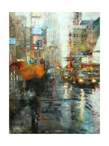 Manhattan Orange Umbrella Art Print - Mark Lague | Art.com